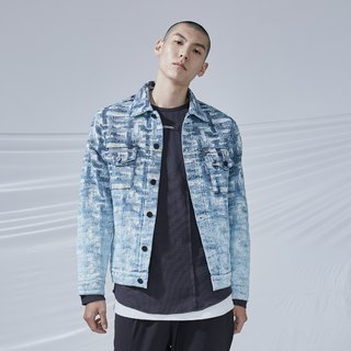 DYCTEAM - Cross Pattern Jacquard Jacket丹寧緹花水洗漸層外套