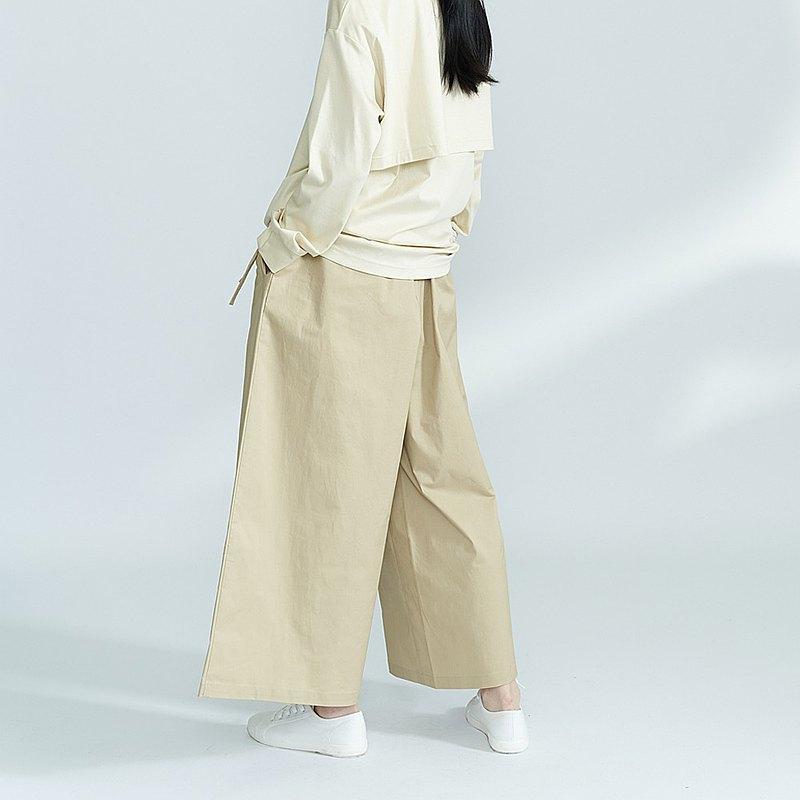 高密度棉質 卡其色中性寬褲 闊腿褲 P200118