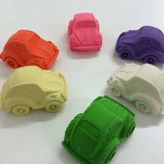 Spain Oli & Carol | modern small tortoise car - pink yellow | natural non-toxic rubber toothbrush / bath toys
