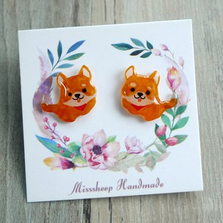 Misssheep-U72- Hand-Made Shiba Inu Earrings (Auricular / Transparent Ear Clips) (One Pair)