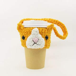 Orange cat / cup set / beverage bag