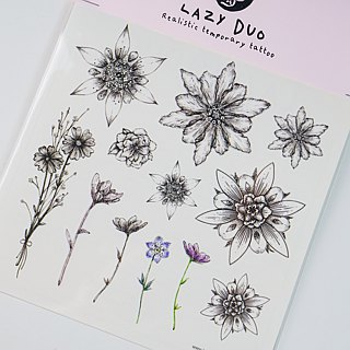 LAZY DUO Temporary Tattoo Stickers Flower Dream Watercolor Plant Floral Rose Sun