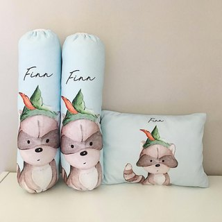 Racoon Pan Personalized Baby Bolster and Pillow