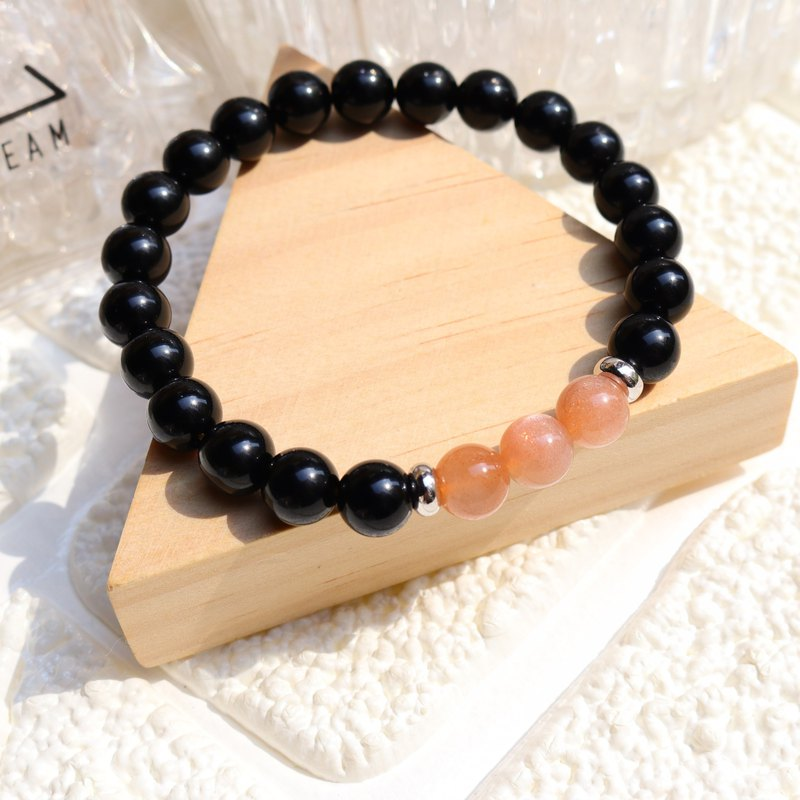 Natural Sri Lankan Orange Moonstone x Obsidian Transfer Bracelet // Healing Stone //