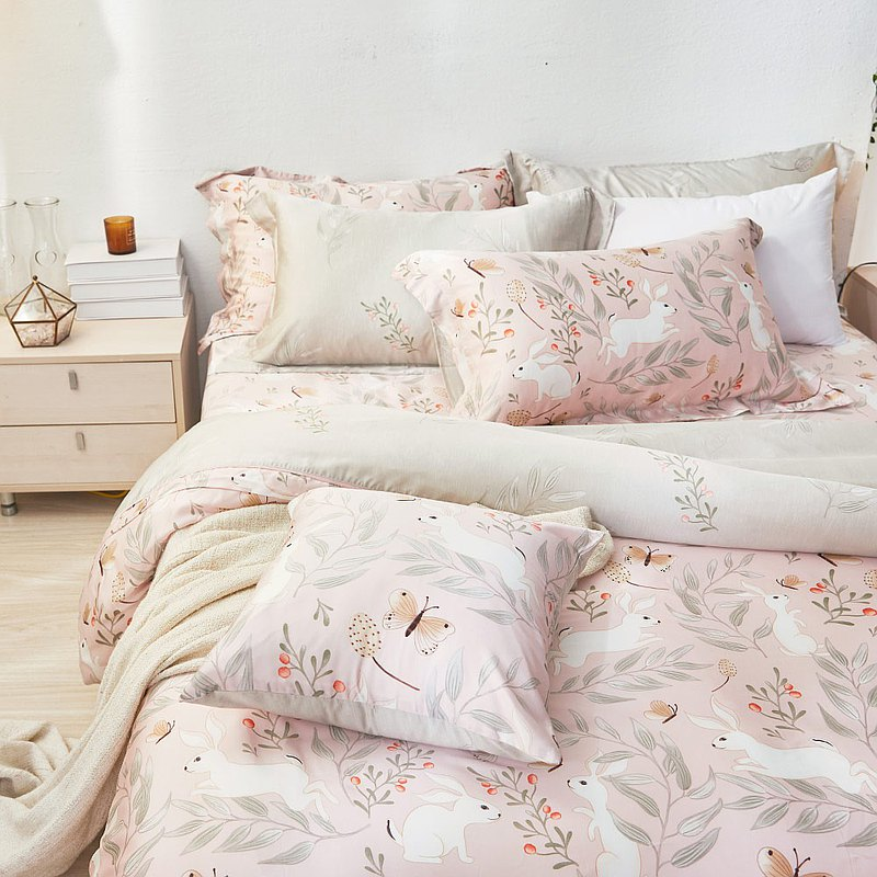 Bed and Pillow Sleeve Set-Extra / 60pcs / Lyocell Tencel Three-piece / Snow Rabbit Love Story Made in Taiwan