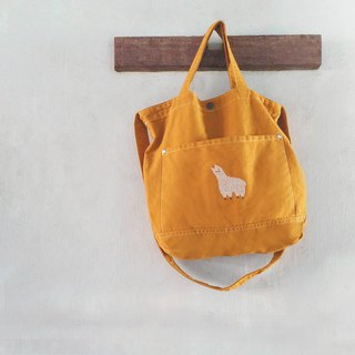 Alpaca Embroidery - Canvas Crossbody Bag: Yellow Mustard