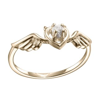 Angel Wing Ring, Heart Diamond Ring, 9K Gold Raw Diamond Ring, Devil and Angel