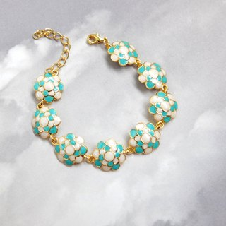 Blue Cauliflowers Bracelet, Gold Plated Bracelet, Gift for her