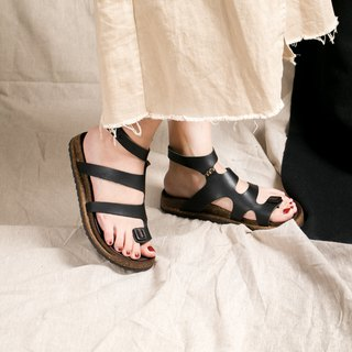 Leather Roman Sandals _ Black