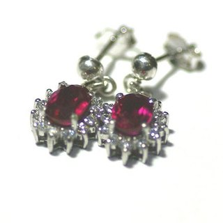 Synthetic spinel pierce earrings