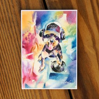 Watercolor painted hair boy series postcard - loyal dog has 嘻