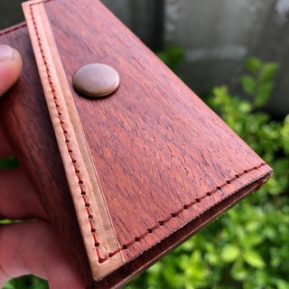 "Business Card Holder/Card Holder_ Select Natural ""Rosewood"" Solid Wood Leather Use_Pure Copper Metal"