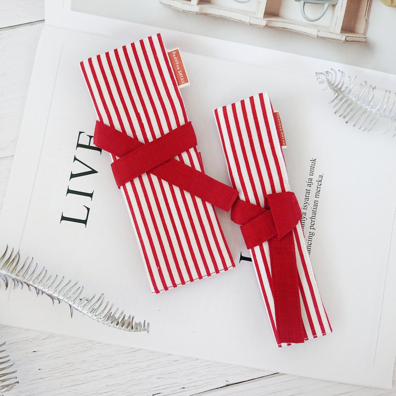 Christmas stripe in hand classic pencil case with Christmas red set (1 big 1 small)
