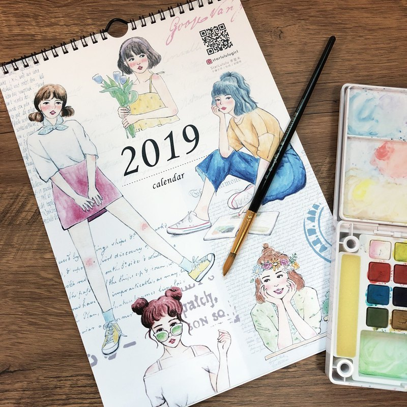 Last 1 piece / 2019 calendar calendar / hand-painted girl illustration calendar / Christmas gift exchange gift
