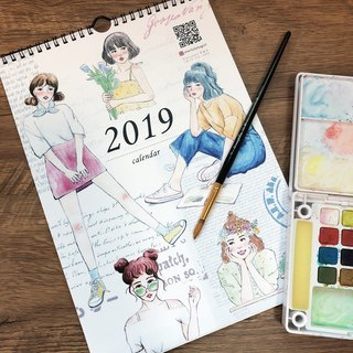 2019 calendar / hand-painted girl illustration calendar / top 10 orders for free