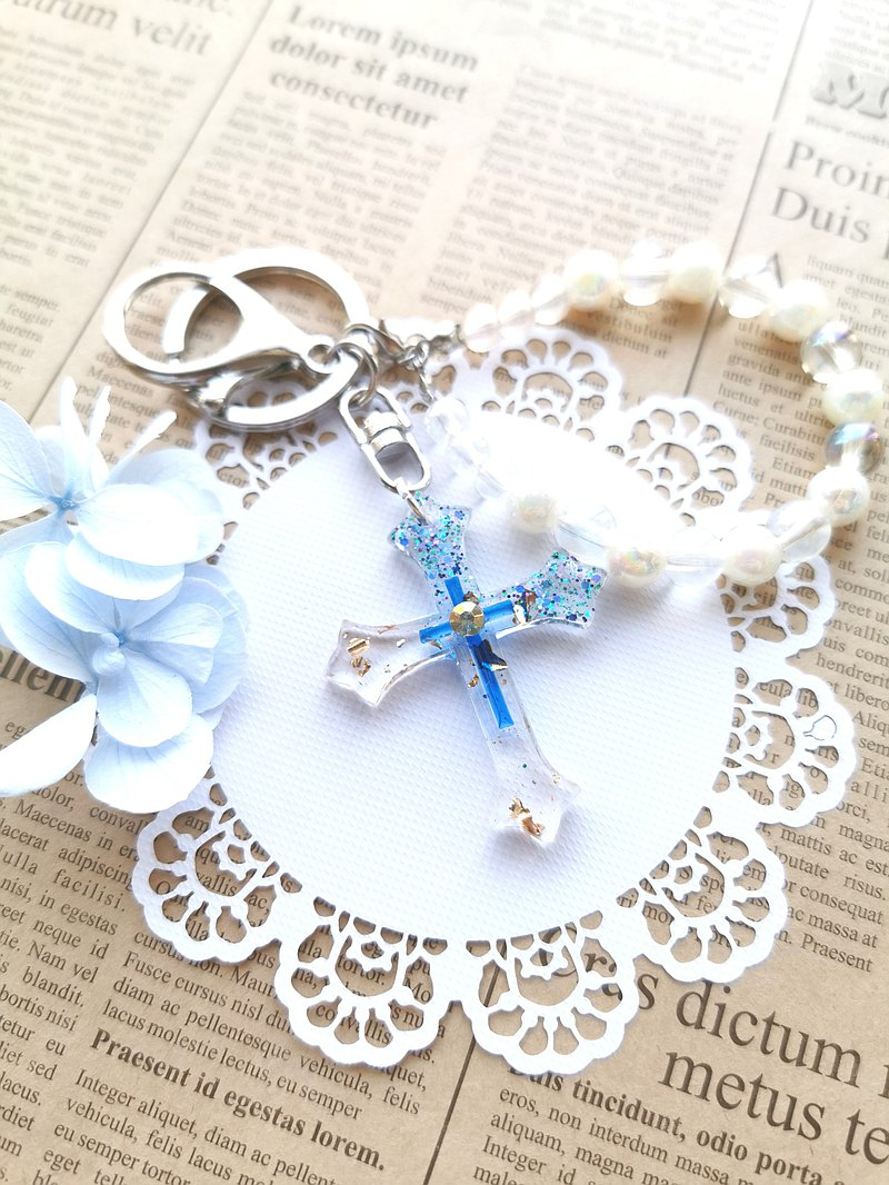 Everyday good deeds The cross of grace of humility and joy (various types) Hand-made resin key ring gift
