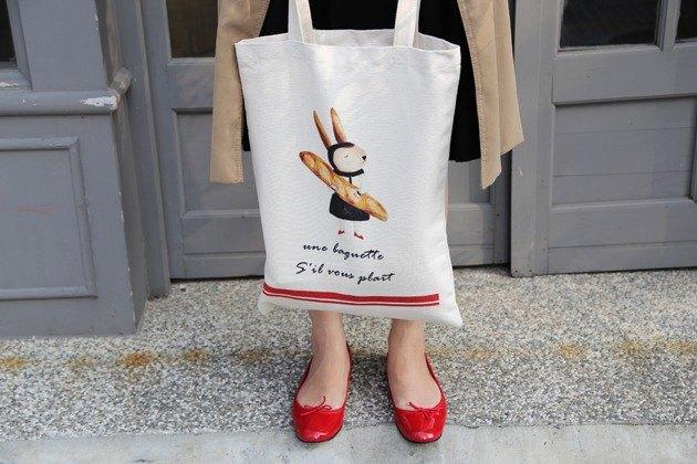 我愛巴黎-兔子環保亞麻購物袋