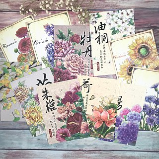 Oriental Wind Seasons Floral Postcard Set
