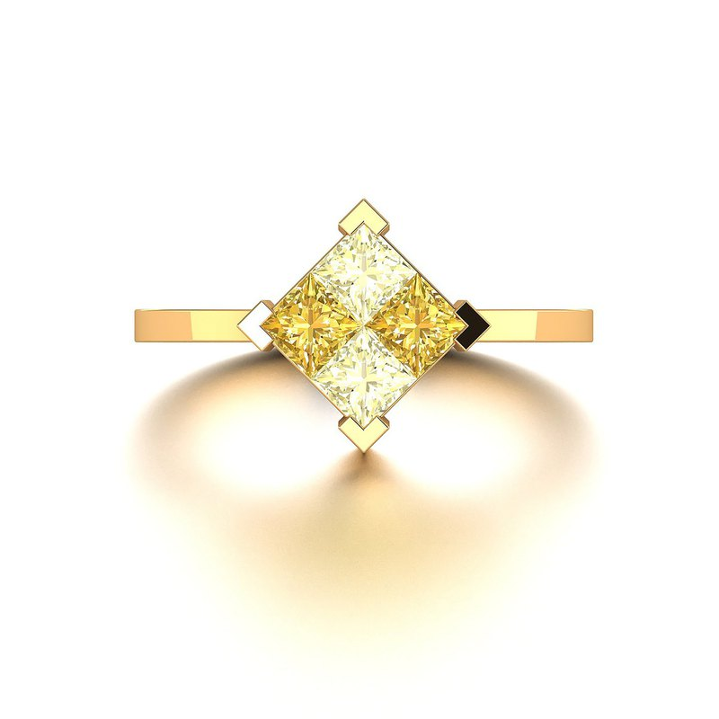 【PurpleMay Jewellery】 18k Solid Gold Square  Yellow Sapphire Ring - R063