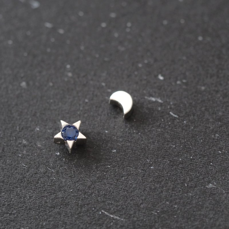 Sapphire star & crescent earrings Silver 925