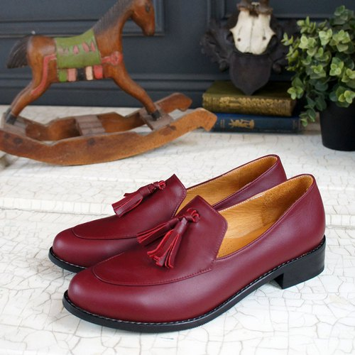 GT full leather gentleman loafers - burgundy