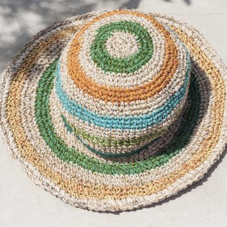 Hand-knitted cotton and linen cap knit hat fisherman hat sunhat straw hat - Tropical South America rainforest colorful rainbow