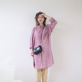 Bean sand powder fine blue line French long version pullover plaid shirt