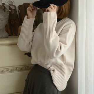 French wool blend pullover sweater|sweater|autumn winter|Australian wool|independent brand|Sora-209