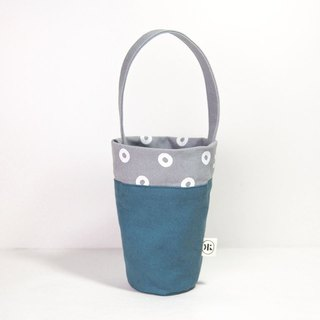 [Geometry Cup Bag] - Mist gray reduction plastic green blue gray
