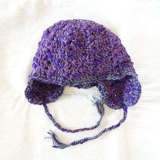 yuoworks / Knit hat with earmuffs / for purple lovers / wool