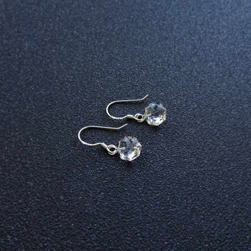Faceted Octagon Clear Quartz Crystal Sterling Silver Earrings (8x8)