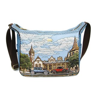 Vintage car texture painting Ti cat ears messenger bag blue coffee -REORE