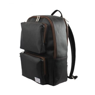 AMINAH-black multi-pocket backpack [am-0302]