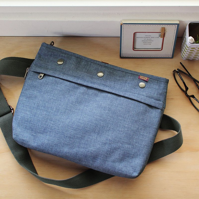 Lightweight carry-on shoulder bag (with dark gray shoulder strap) - 麻蓝_100380