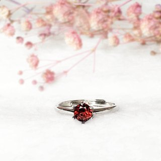 | Sterling Silver Jewellery | Natural Garnet S925 Classic Glossy Ring (Adjustable Ring/Gemstone)