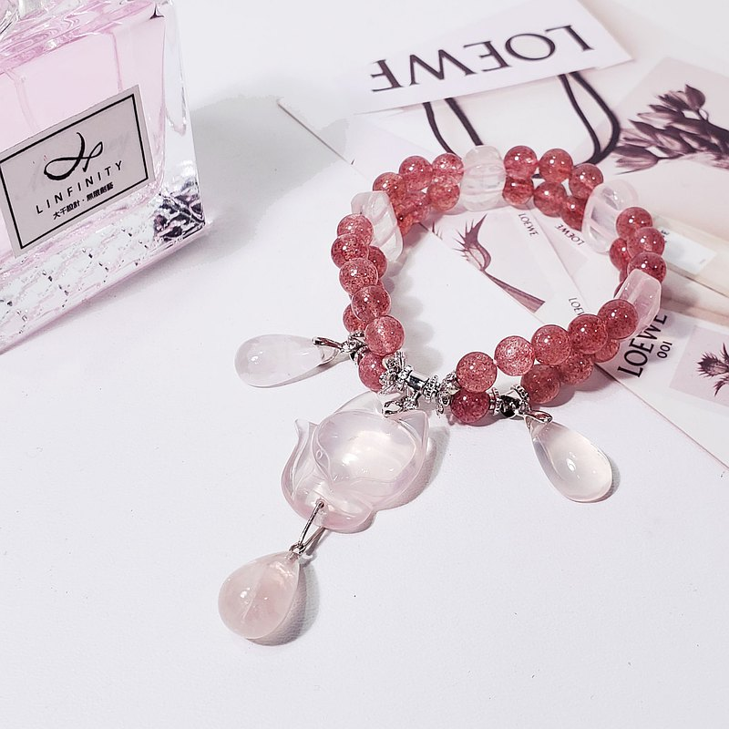Natural top strawberry crystal starlight pink crystal fox fairy popularity peach blossom career good luck wisdom bracelet