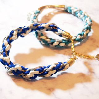 Hand-woven blue gray lucky twist twist couple hand rope