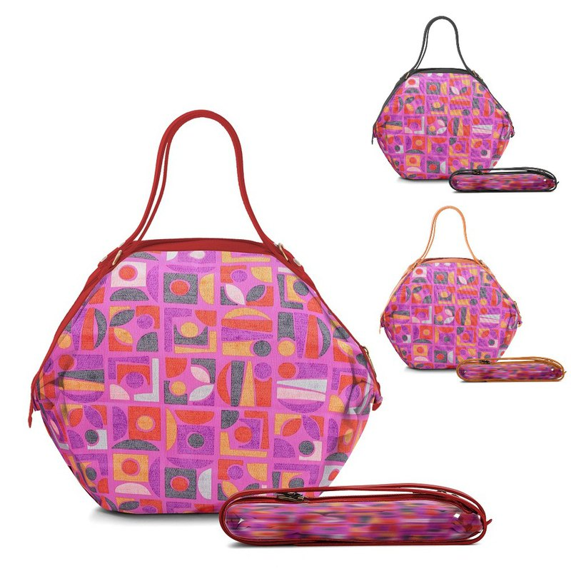 [POPCORN] Italy Air Folding Bag / Tri-use Shoulder Bag / Geometric Pink
