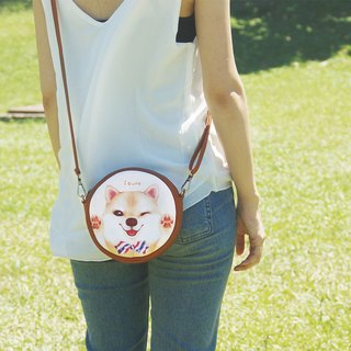 i bag hand-drawn wind small bow tie - bow tie A5. Qi Shiba dog - side backpack / diagonal backpack / shoulder bag Valentine's Day gift