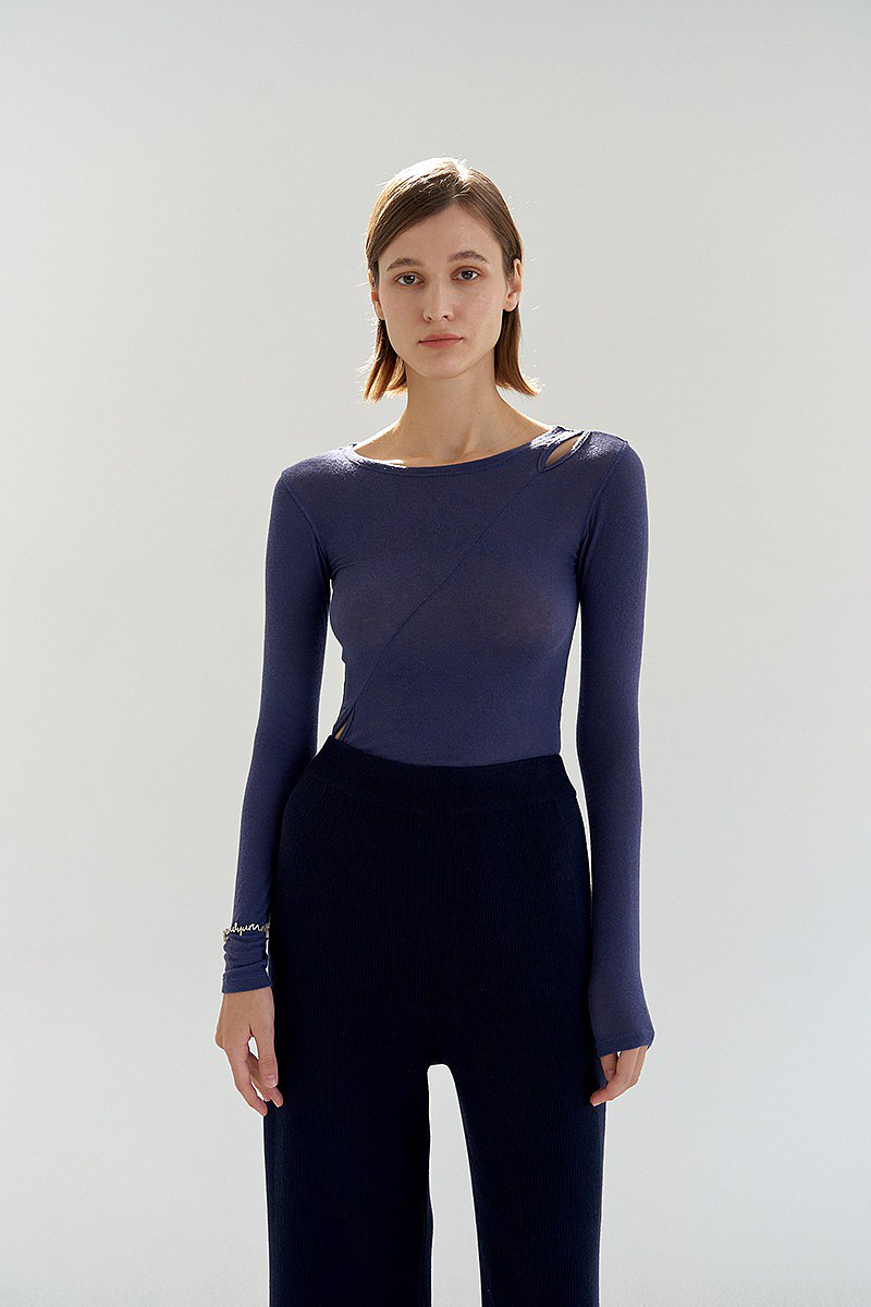 Cut-Out Top/ Blue