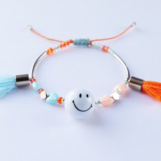 Smiley blue orange tassel string bracelet