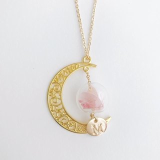 Preserved Flower Golden color Moon Planet Glass Ball Necklace  Birthday