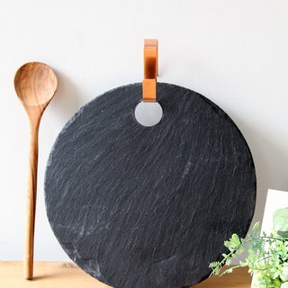 British Selbrae House natural black slate round copper hanging hook cutting board / tray 30 cm - spot
