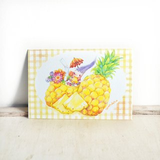 【Watercolor illustration postcard】Pineapple . Fruit Series
