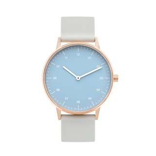 BIJOUONE B40 ROSE GOLD WATCH ON RUBBER STRAP, BLUE