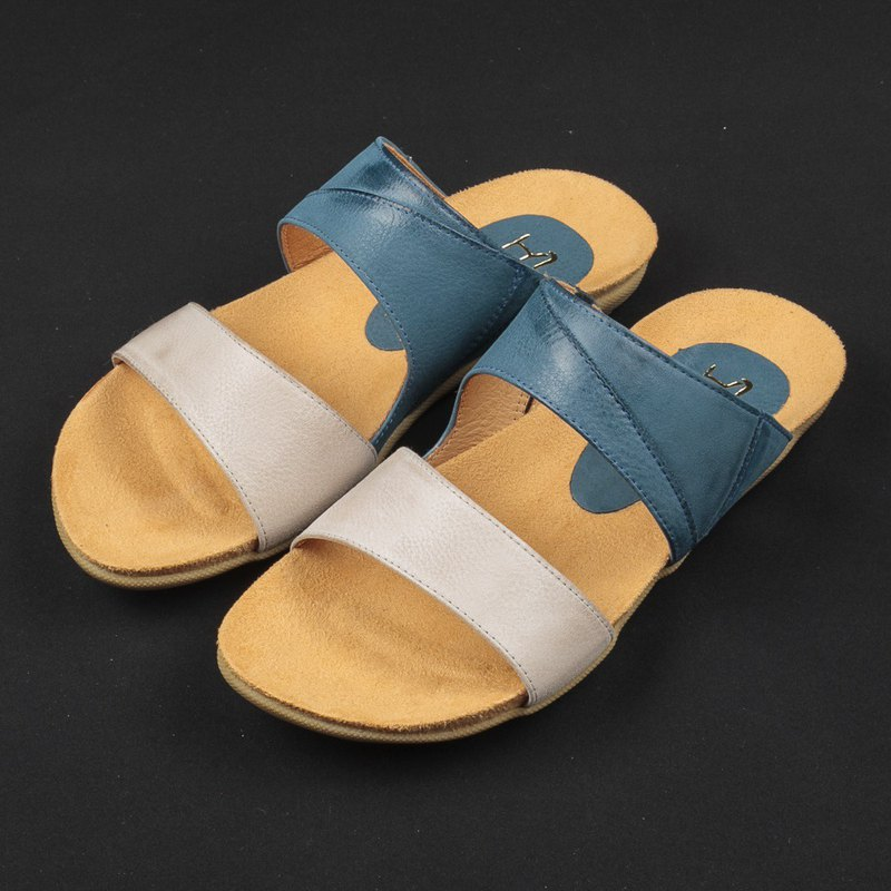 Simple Double Band Leather Slippers-Royal Blue / White