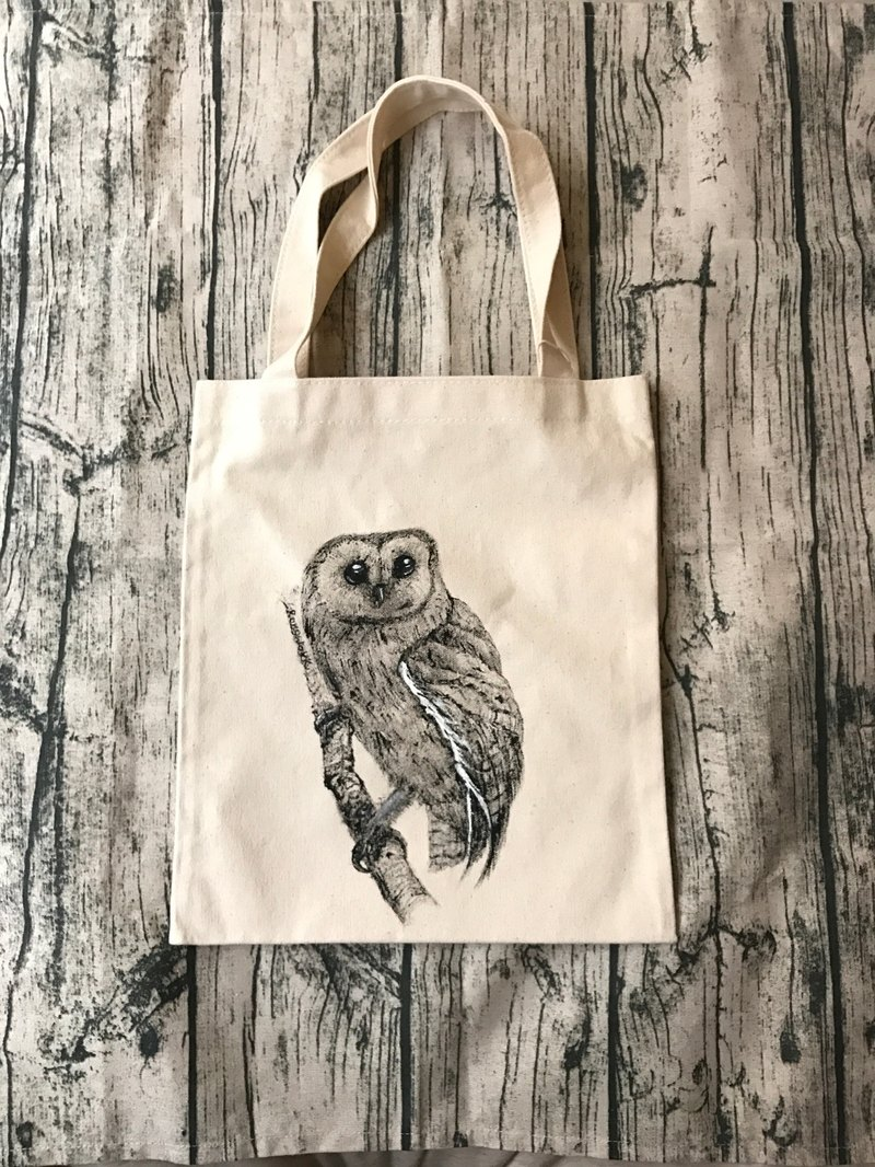 Hand-drawn design owl side shoulder bag / shoulder back