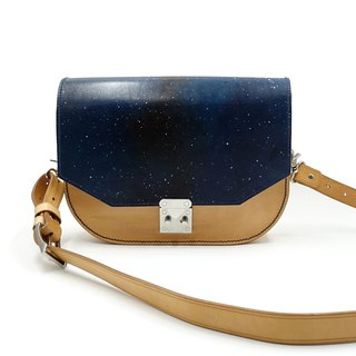 Arc bottom shoulder bag, side backpack, shoulder bag starry sky cloud hand-painted can be customized