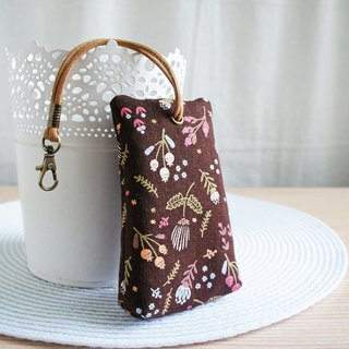 Lovely flower plant three-dimensional tea bag zipper key bag, ID card available, deep coffee