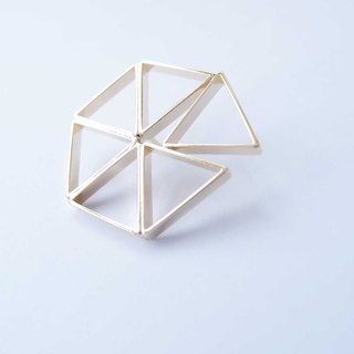 Geometric Landscape 23 Metal Brooch